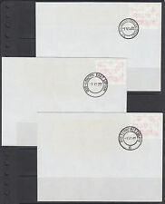 South Africa, 3 FRAMA labels, Pietermaritzburg, East London, Malanlughawe cancel