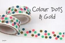 Chugoku Washi Deco Paper Tapes -  Samplers - Colour Dots & Gold