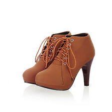 Womens Boots High Heels Ankle Sexy Boots Stiletto Lace Up Round Toe Work Shoes
