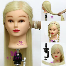 """30""""  100% Synthetic Hair Hairdressing Training Mannequin Doll Head + Clamp"""