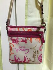 COACH - PINK HORSE and CARRIAGE SATEEN SHOULDER BAG / CROSSBODY BAG / SWINGPACK