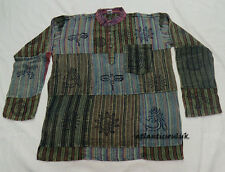 K427 M Homemade Cotton grandad long sleeve stripes Patched Print men Shirt Nepal