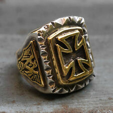 Mexican Biker Ring Skull sterling silver German Maltese Iron Cross eagle Vintage