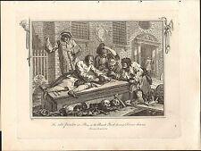 1818 Grabado Cobre Hogarth georgiano inactivo Prentice patio de la Iglesia servicio divino