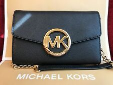 NWT MICHAEL KORS HUDSON LEATHER LARGE PHONE WALLET CROSSBODY BAG IN BLACK