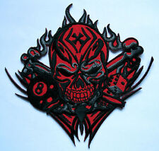 SKULL TRIBAL TATTOO MOTORCYCLE BIKER Red Embroidered Iron on Patch Free Shipping