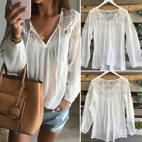White Damen Sexy Spitze Bluse Langarm Shirts Lace Tops T-Shirt Oberteile Tee Hot