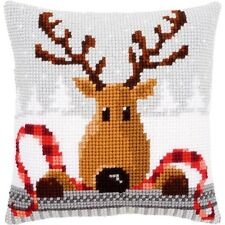 Vervaco Reindeer With A Red Scarf I Cushion Cross Stitch Kit - 526450