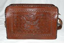 Vintage Mexican Aztec Eagle Devouring Snake Dark Brown Tooled Leather Handbag