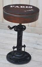 Vintage Traditional Height Adjustable Cast Iron Bar Stool Seat with Leather Top