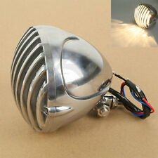 Motorcycle Scalloped Headlight Finned Grill For Harley Chopper Bobber Cafe racer
