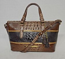 NWT Brahmin Caron Collection Striped Embossed Mini Asher in Nutmeg J55846