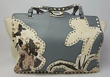 Valentino Rockstud Medium Tote Bag Leather Floral Print Light Blue Purse $4,445