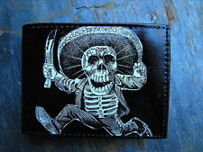 Black and White Skeleton Decorated Leather Wallet - Day of the Dead - M132