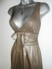 Stunning Zara Gold Metallic Bow Front Evening Day Summer Occasion Dress Medium