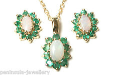 9ct Gold Opal and Emerald Pendant and Earring Set Boxed Made in UK