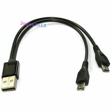 Black Short 20cm USB A Male to 2 Micro B USB Male 5pin Y Splitter Charging Cable