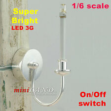 1/6 Scale Wall LED LAMP miniature light battery on/off  Barbie dollhouse SILVER