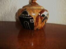 VINTAGE UNUSUAL OLIVE ? WOODEN POT & LID HANDPAINTED SILVER PALM TREES DESERT
