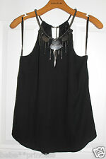 NWT bebe black gold embellished neck dress tank top sheer cutout  S small party