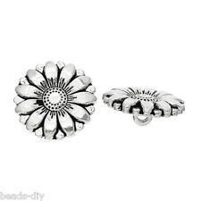 50PCs Silver Tone Sunflower Carved Sewing Metal Buttons Crafts 18mm