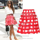 sk88 Celebrity Style Vintage High Waisted Digtal Grid Print Skater Flared Skirt