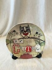 Be Grateful Small Decorative Plate W/ Stand Owl Inspirational Gift