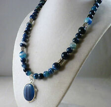 """19"""" Blue Striped Agate Necklace with Sterling Silver Blue Striped Agate Pendant"""