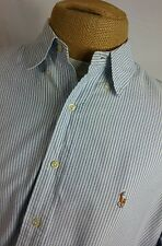 Polo Ralph Lauren Mens Yarmouth Blue Stripe Oxford Button Shirt 16-35 Large