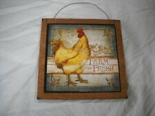 Farm Fresh Rooster Country Kitchen Wooden Wall Art Sign Farm Decor