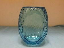 1960's Viking Art Glass Capri Blue~Sconce Globe~Lamp Shade~Diamond Design Vase