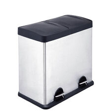 48L Stainless Steel Pedal Bin Dual Recycling Kitchen Waste Dust Rubbish Storage