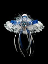 ROYAL BLUE & WHITE Go Glam GARTER FEATHERS Prom Wedding Special Bridal