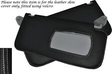 WHITE STITCH FITS SUBARU FORESTER 1997-2002 2X SUN VISORS LEATHER COVERS ONLY