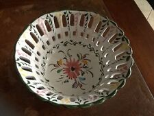 Hand Painted RETICULATED Ceramic Basket / Bowl MADE IN PORTUGAL