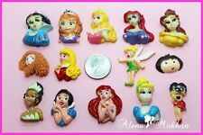 14 pcs Assorted Lot of Princess DIY Flatback Resins, Cabochons, Charms