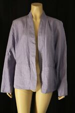 EILEEN FISHER Jacket Lavender stitched crinkled 100% Silk open swing Sz Large