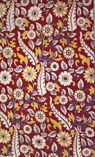 Cotton kalamkari block print fabric - 100 cms length by 43 inches Red base flor