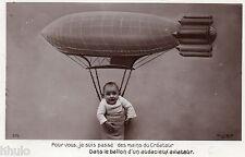BL212 Carte Photo vintage card RPPC Enfant fantaisie ballon dirigeable bébé