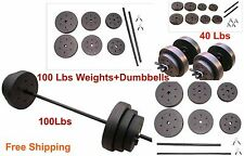 Home Gym 100 Lbs Barbell Dumbbells 40 Lbs Fitness Body Workout Strenght Abs Set