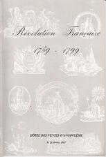 CATALOGUE AUTOGRAPHES DOCUMENTS 1987 REVOLUTION FRANCAISE 1789-1799