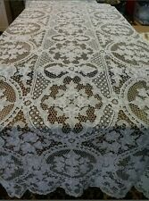 Vintage Banquet White Reticella Point De Venise Venice Lace TableCloth 300 cm