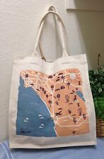 Fossil Blue Canvas Beach Tote Bag Shoulder Handbag California Map EXC