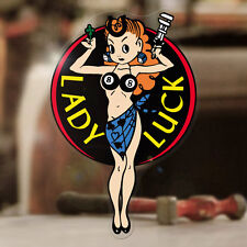 """Lady Luck sticker decal hot rod old school pin up pinup girl black 3.5"""""""
