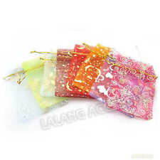 80pcs NEW Mixed Lots Organza Wedding Pouch Jewelry Candy XMAS Gift Bags 9x12cm C