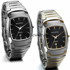 Mens Luxury Tungsten Steel Band Date Square Dial Analog Quartz Dress Wrist Watch