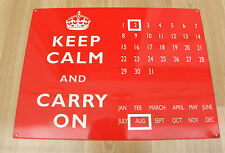 KEEP CALM AND CARRY ON SLOGAN TINPLATE PERPETUAL CALENDAR! SUPERB CONDITION!