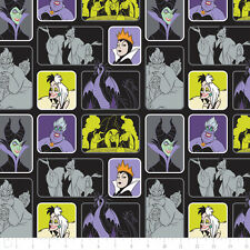 Camelot Fabric Disney Villains Wicked Women in Black PER METRE Licensed Film TV