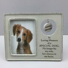 New MEMORIAL PET FRAME SADLY MISSED SPECIAL DOG Hanging tag In Loving Memory