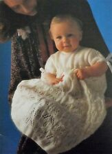 Vintage Knitting Pattern Baby Lacy Christening Robe 3 Ply Wool  Ham